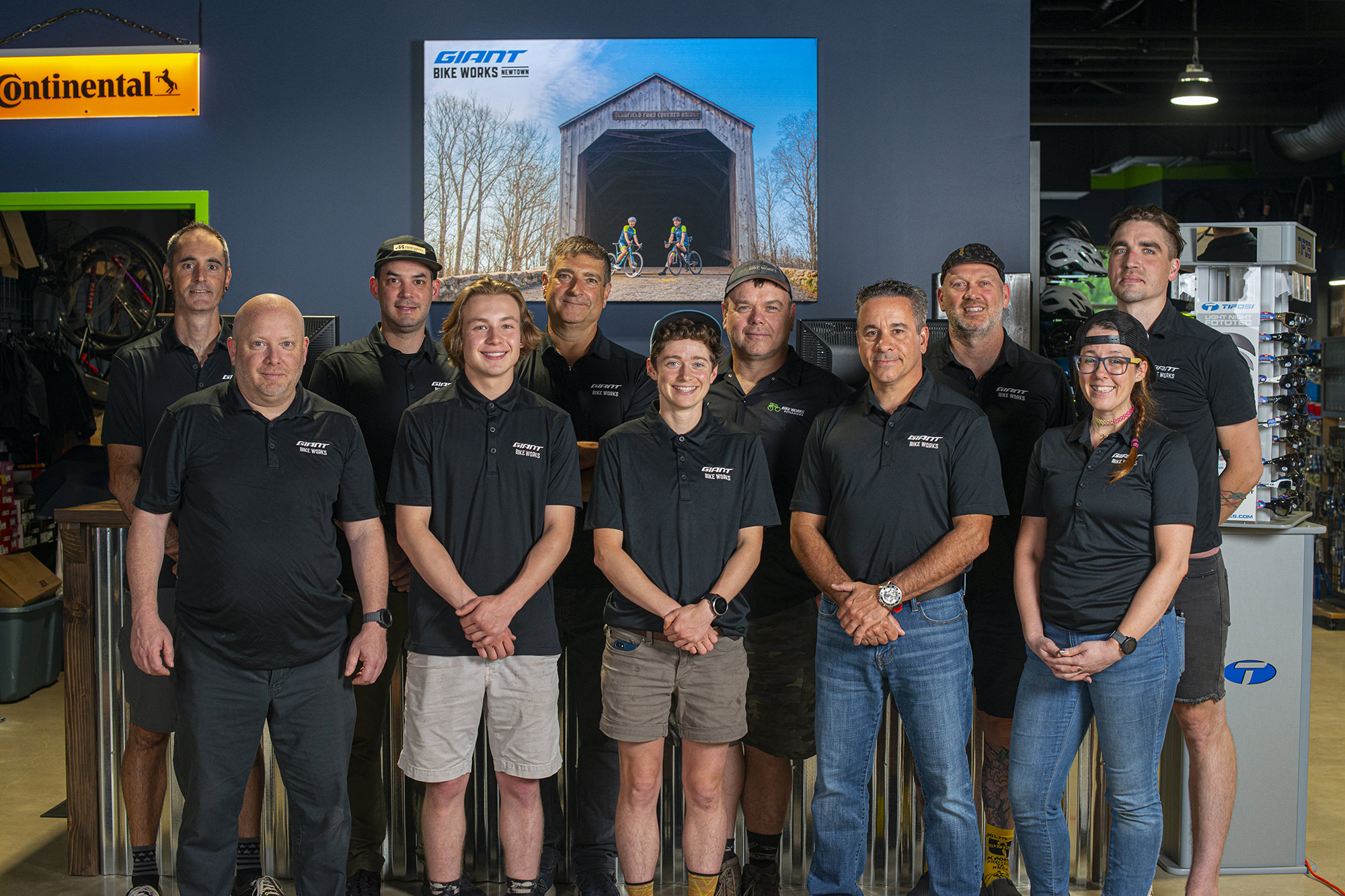 The team at Bike Works during the Newtown opening weekend